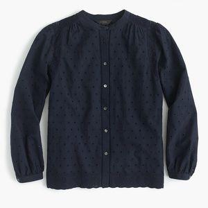 J. Crew Navy Eyelet button-up shirt